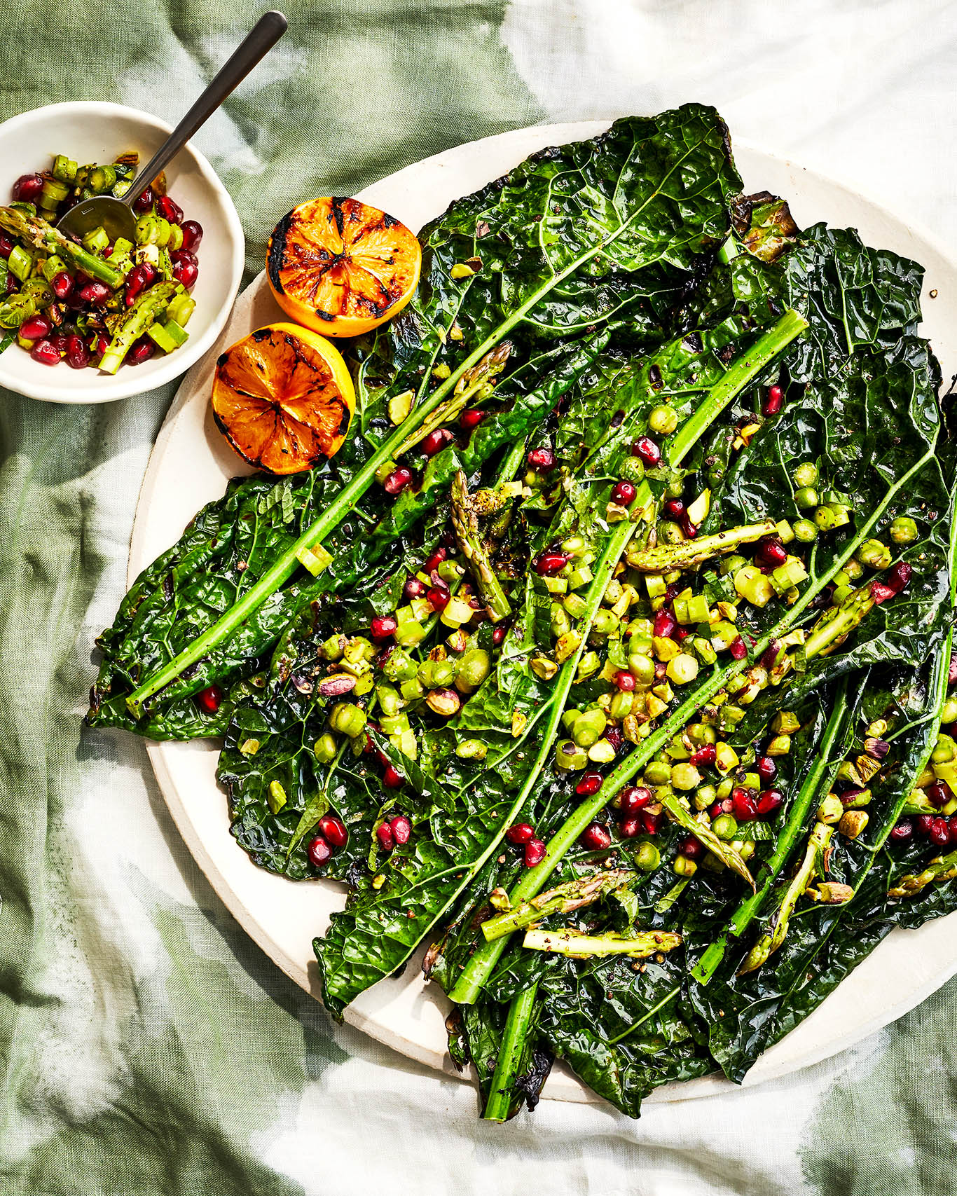 Grilled Kale & Meyer Lemons with Asparagus-Pomegranate Relish