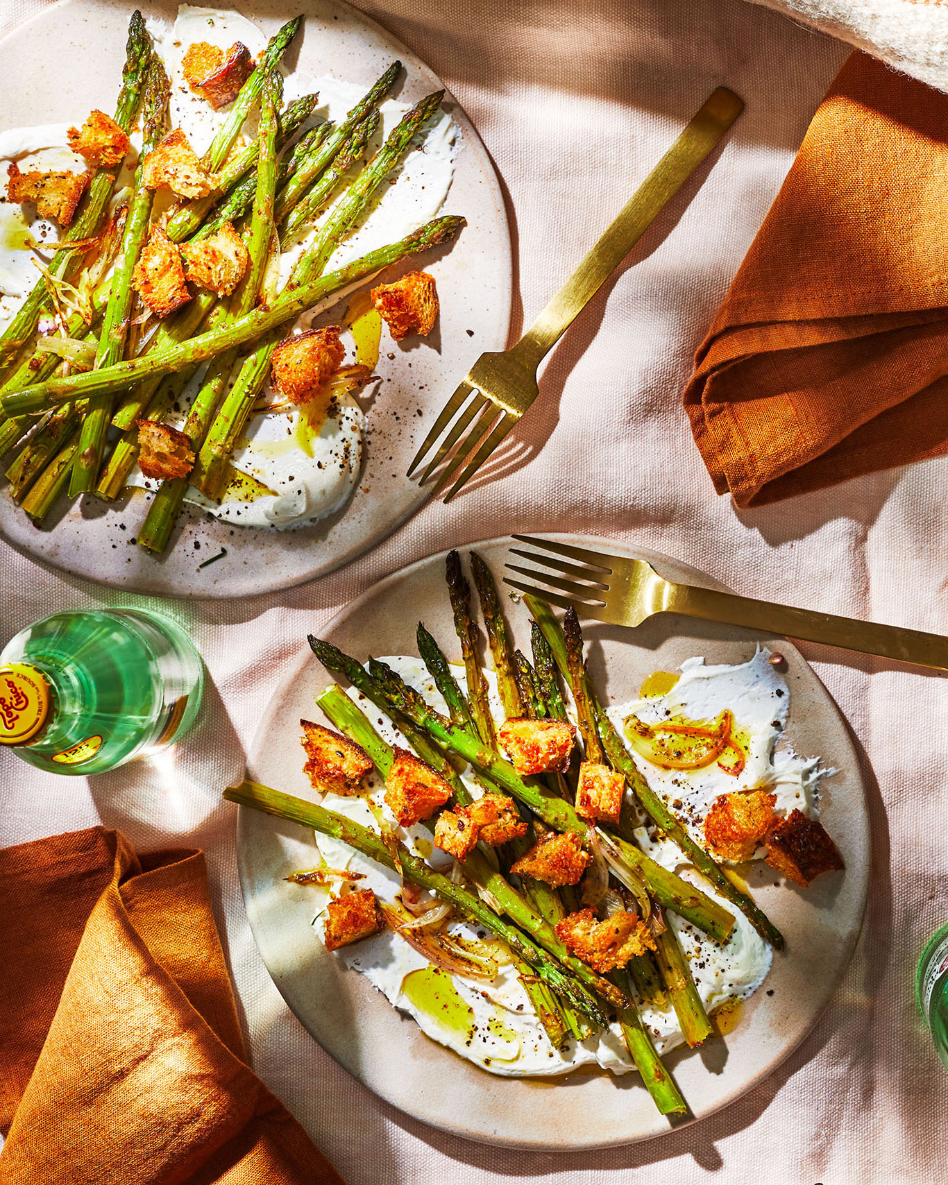 Za'atar-Sumac Asparagus with Lime & Whipped Goat Cheese