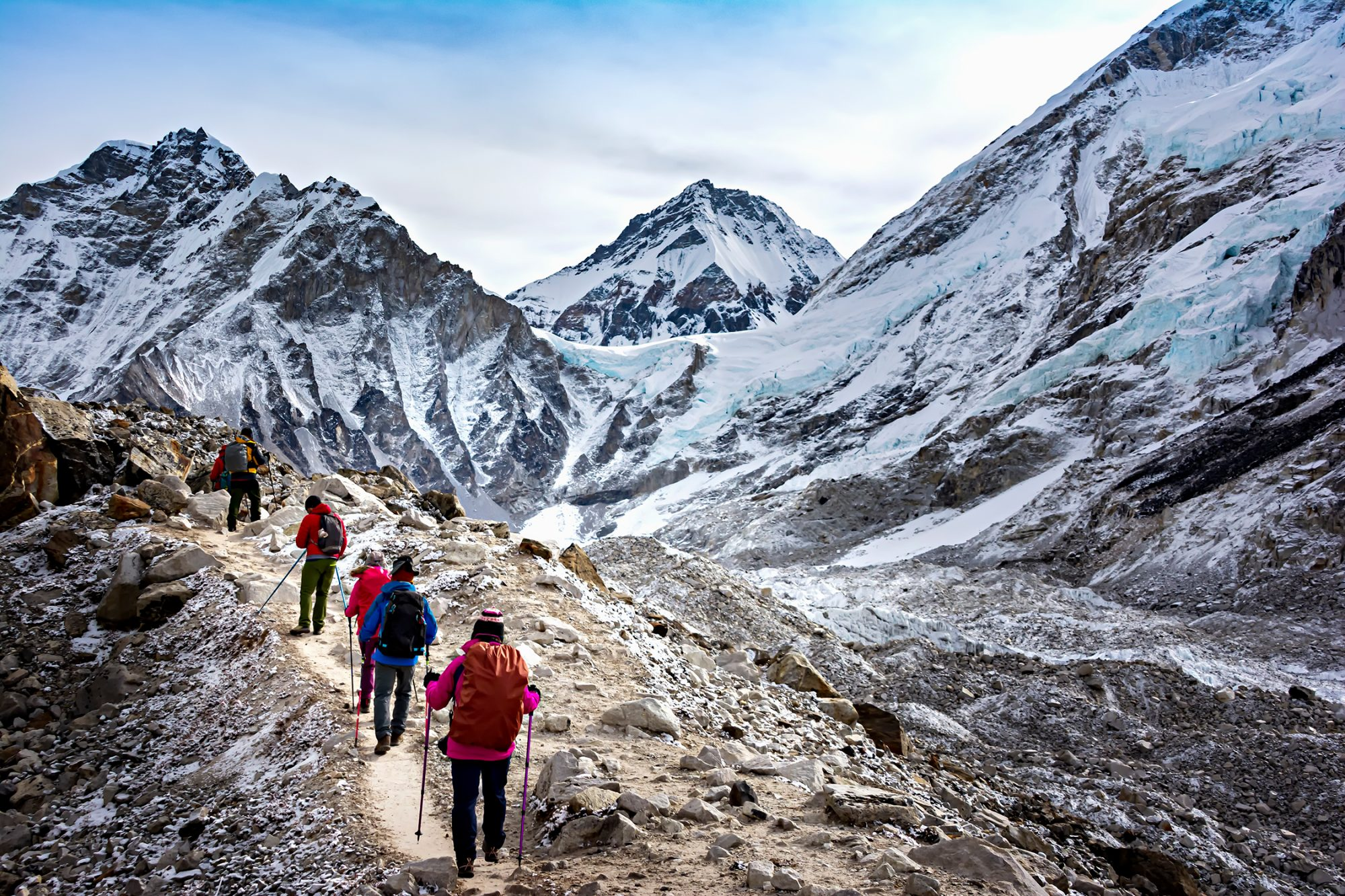 Hikers walk to Everest Base Camp during Everest Base Camp trekking in Nepal.