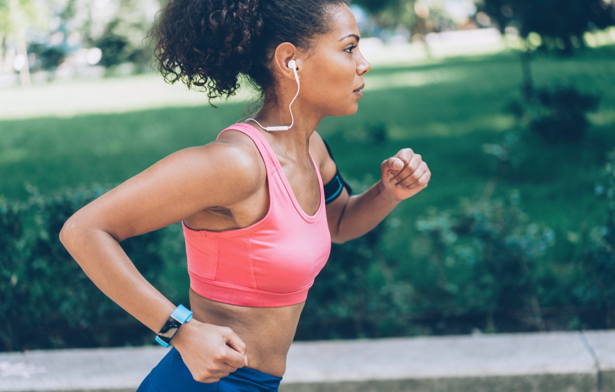 Ways to Get Active at Any Age , Afro-american woman running in the park