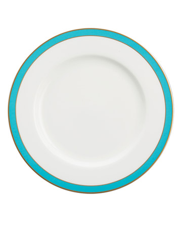 Teal and White Salad Plate