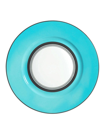 Turquoise and White Dinner Plate
