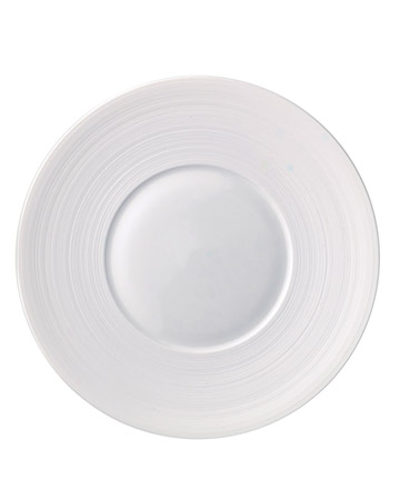 White Salad Plate with Striped Rim