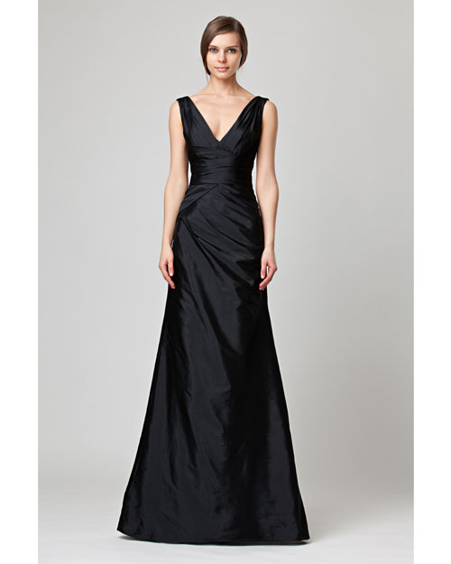 V-Neck Black Bridesmaid Dress