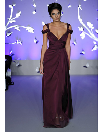 Floor-Length Bridesmaid Dress in Wine