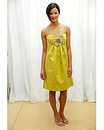 Yellow Strapless Dress with Flower