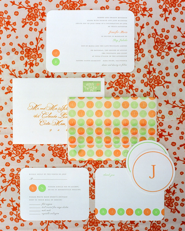 Orange and Green Invitations