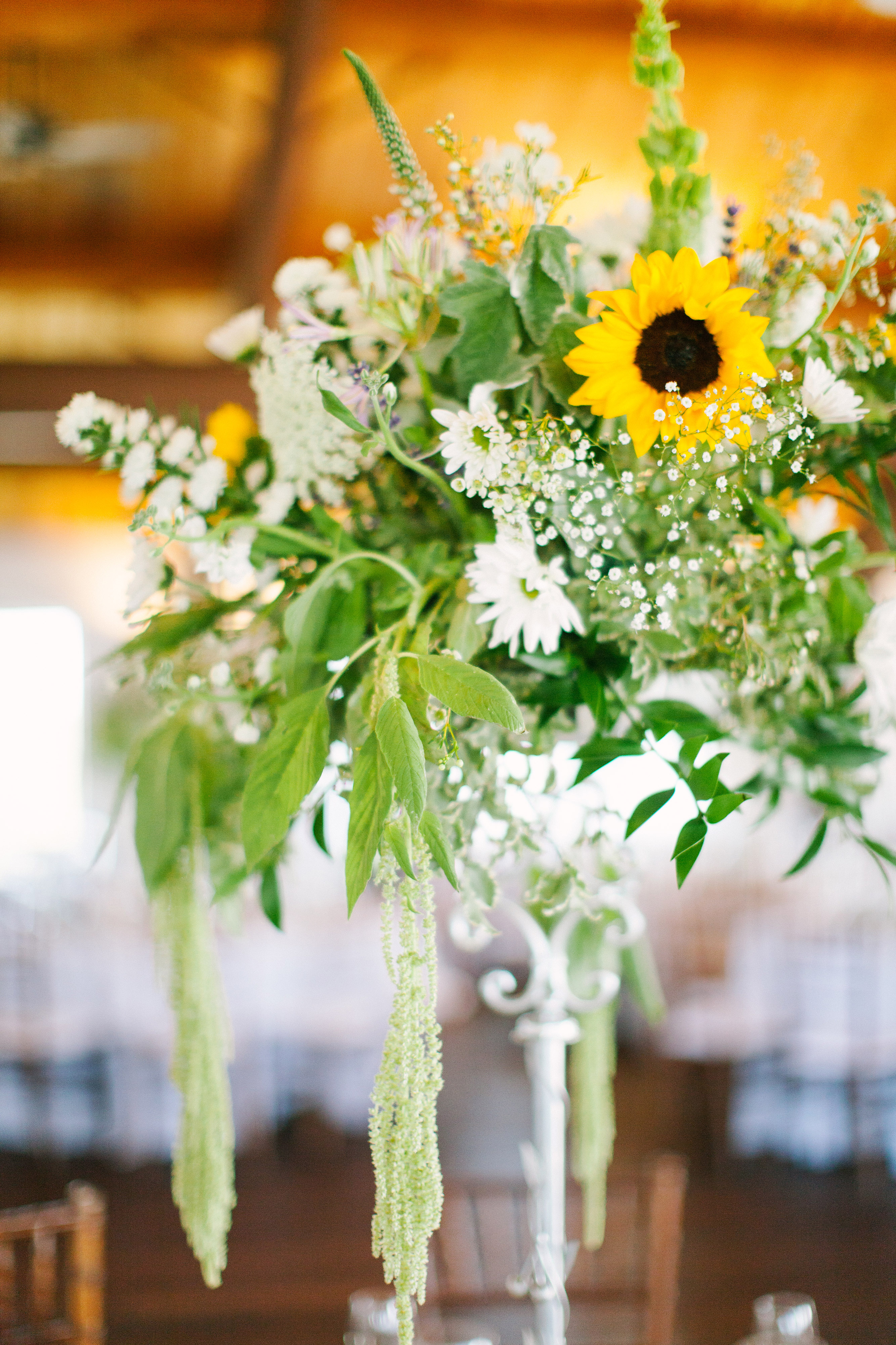 tall wedding centerpieces white flowers sunflowers