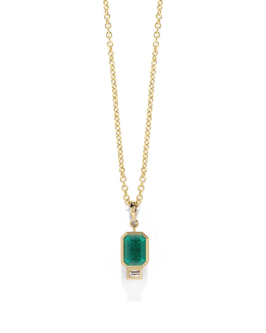 Emerald and Baguette Diamond Necklace