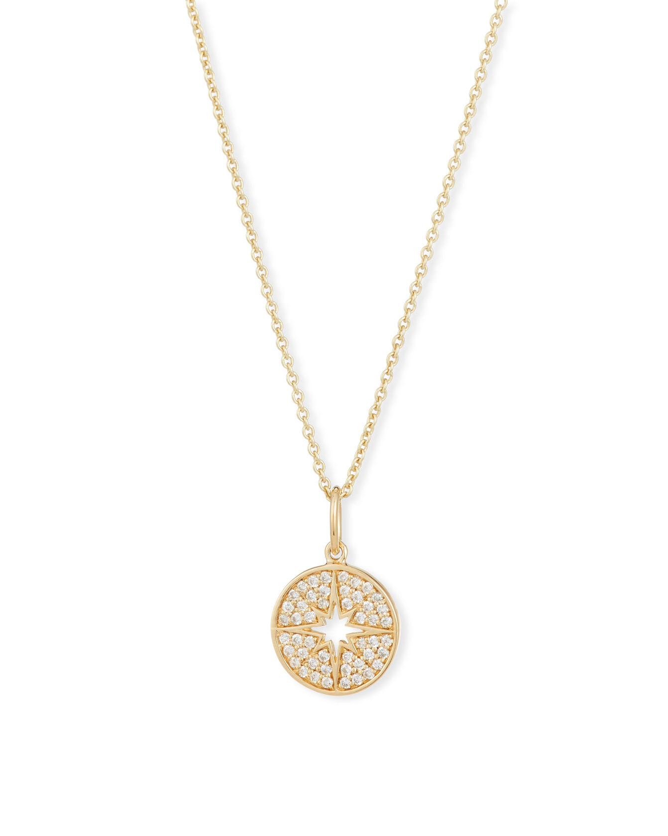 Small Starburst Medallion Necklace with Diamonds