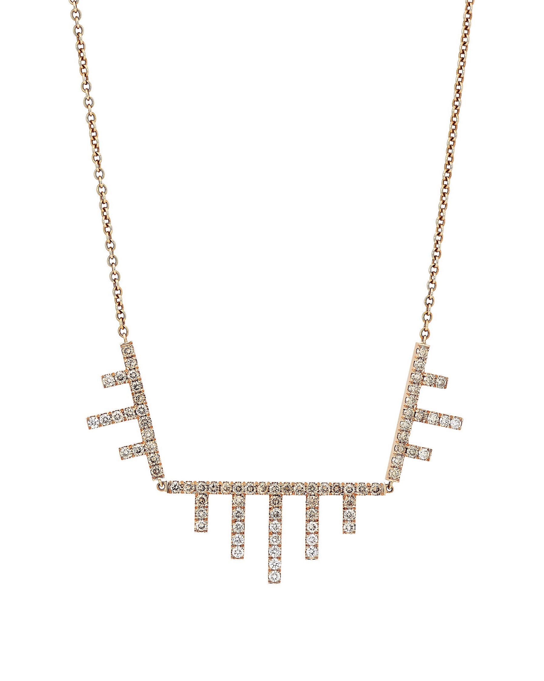 three diamond-encrusted geometric-shaped pendants cable chain
