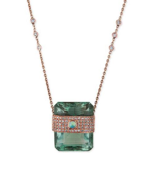 Diamond Fluorite Baguette Necklace