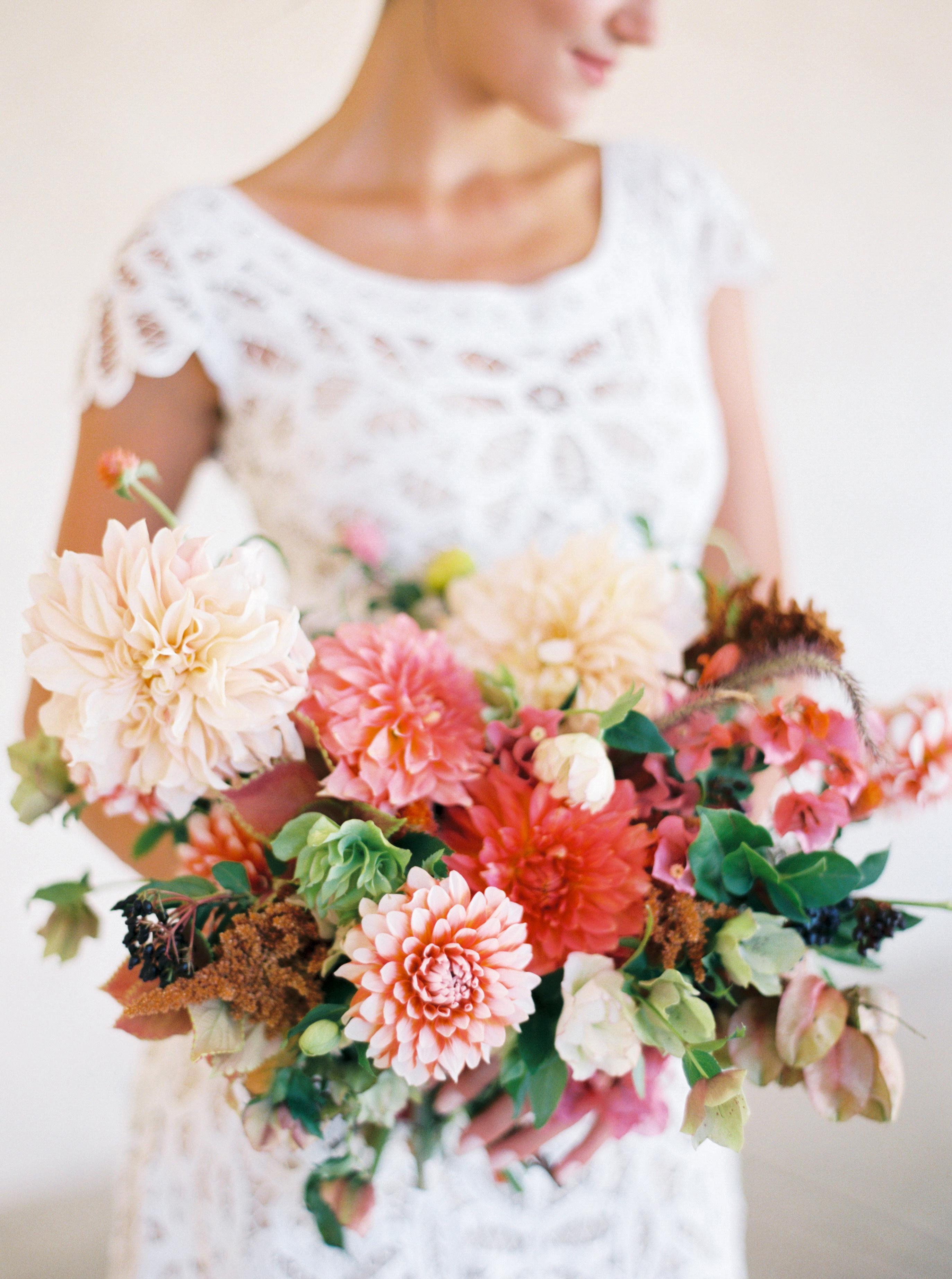 bride dahlia bouquet pastel peach coral flowers