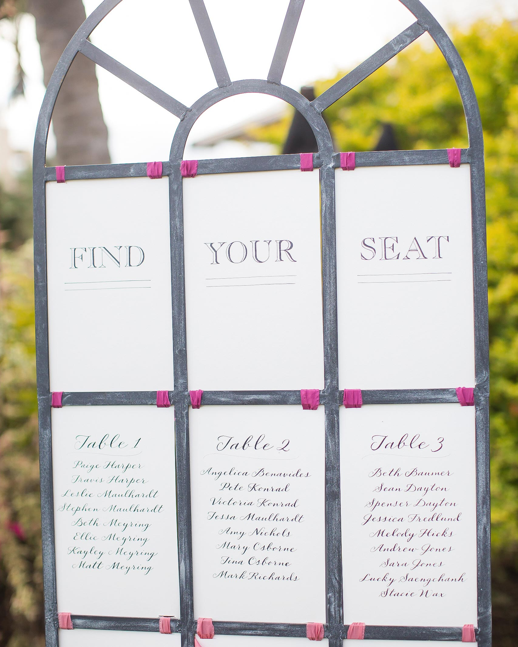 Calligraphed Seating Chart