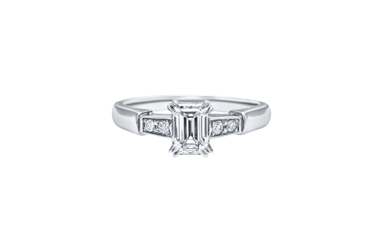 emerald cut ring platinum band with round diamonds on either side