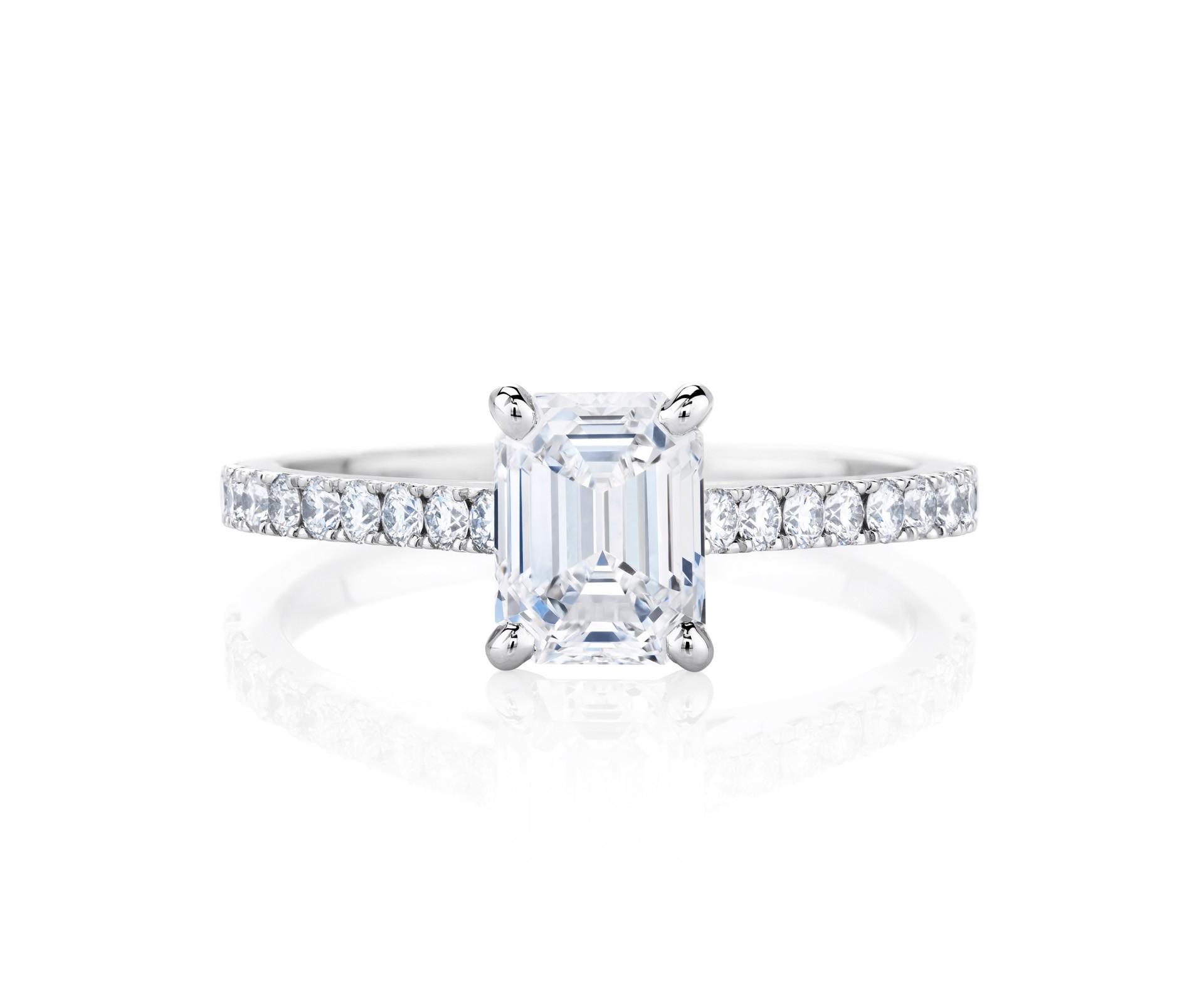 emerald cut ring platinum and set diamond band
