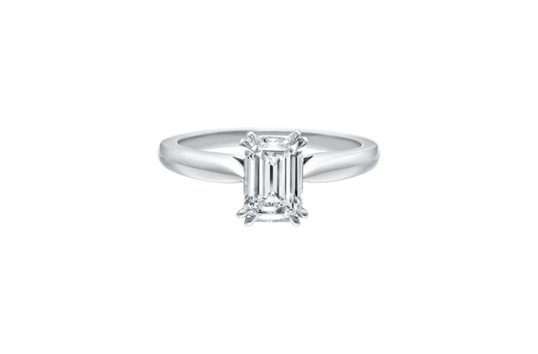 emerald cut ring platinum band