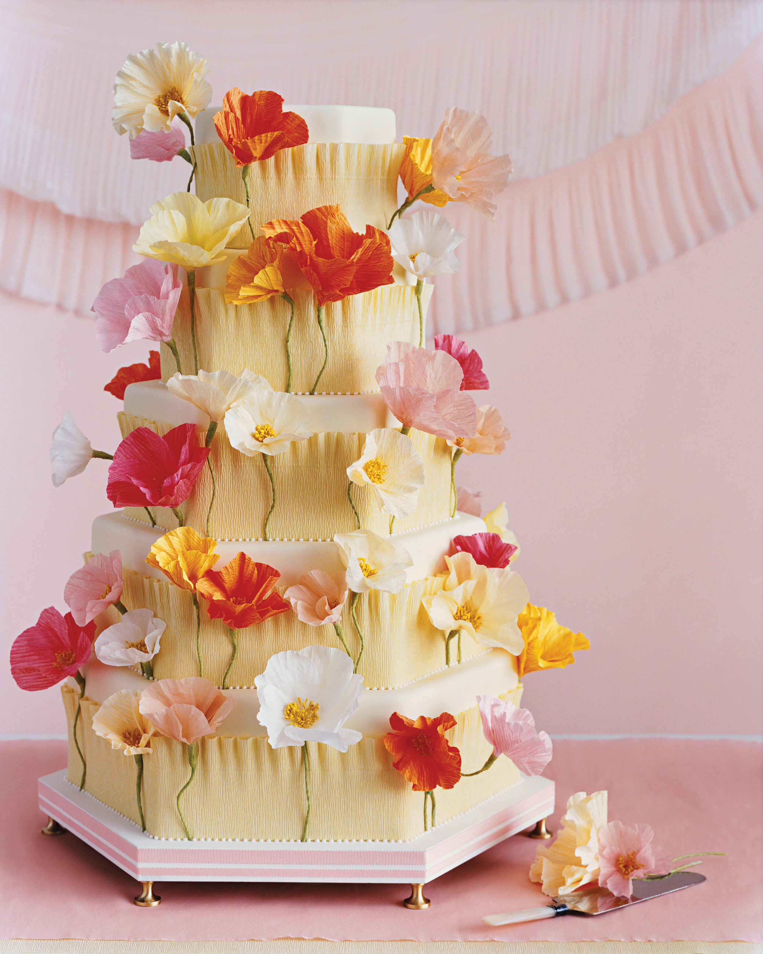 Crepe-Paper Poppies Cake