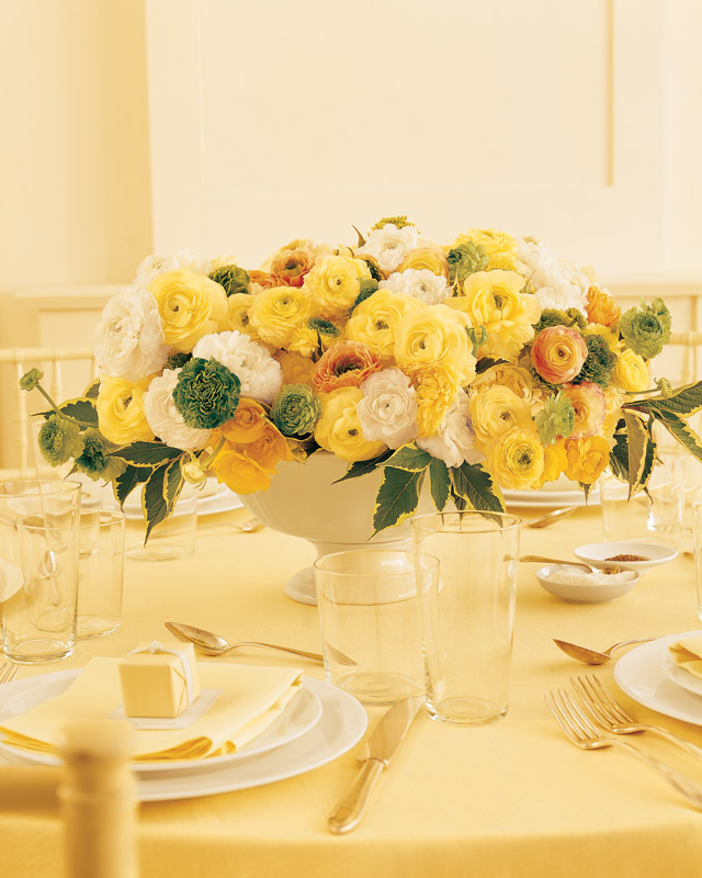 Sunny Wedding Centerpiece with Ranunculus