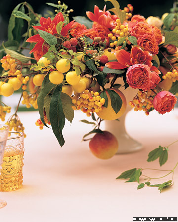 Cascading Wedding Centerpiece with Fruit