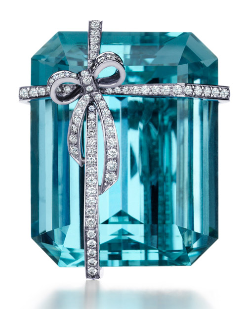 Aquamarine Bow Brooch