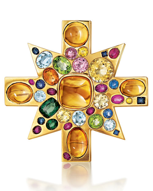 Gold-and-Colored Stone Brooch