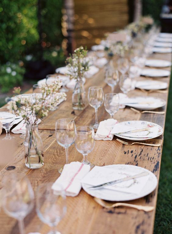 rustic wedding centerpieces minimal clear vase wildflowers