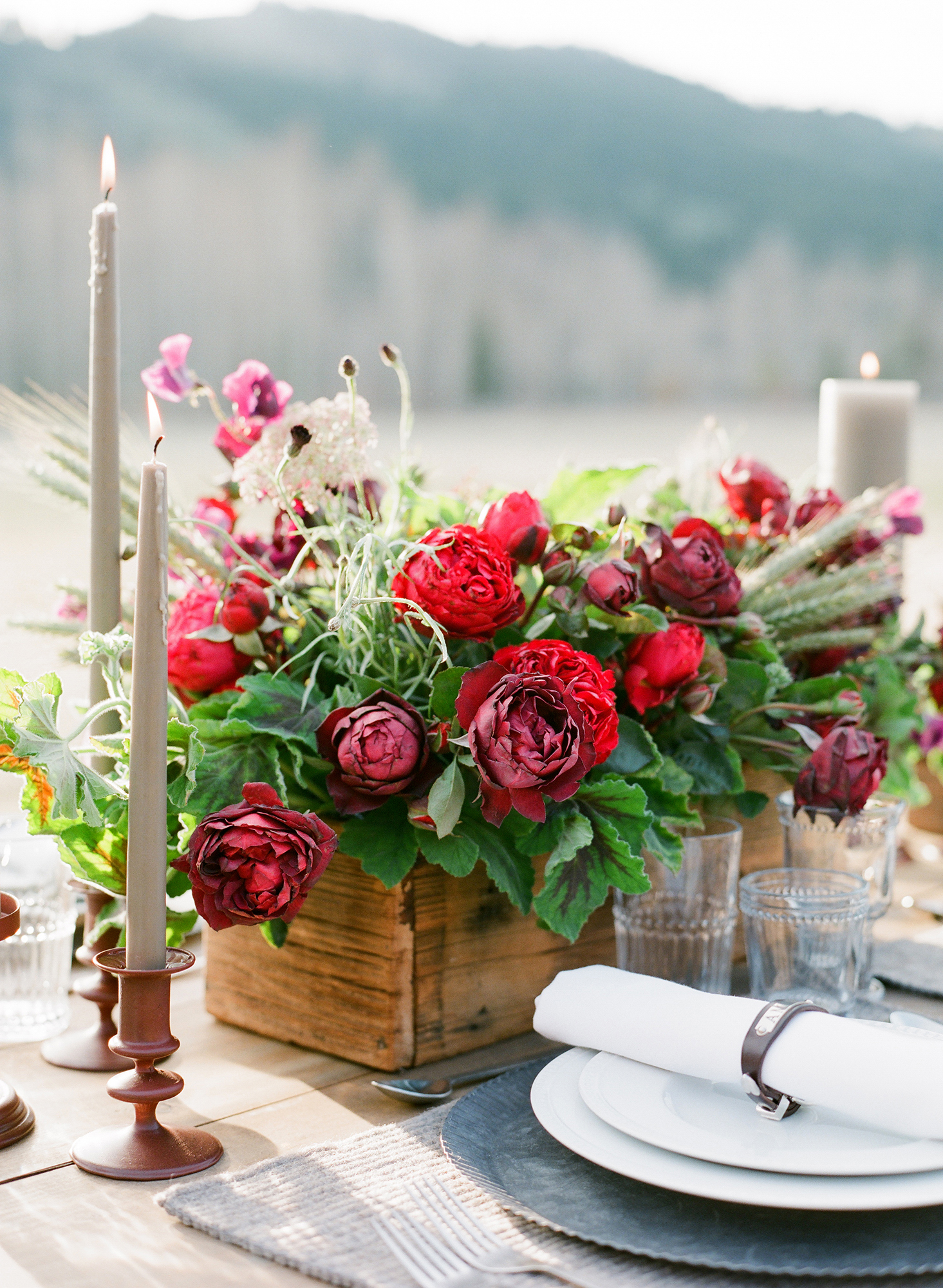 boxed rustic centerpiece