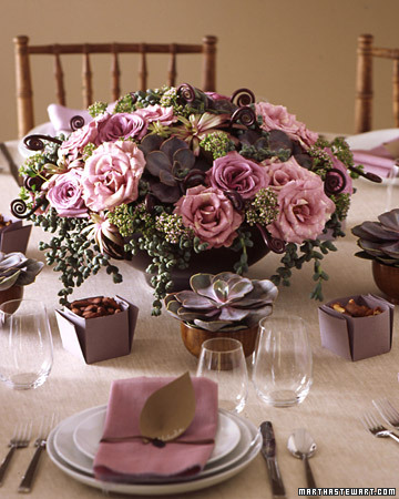 Lilac and Brown Table Setting