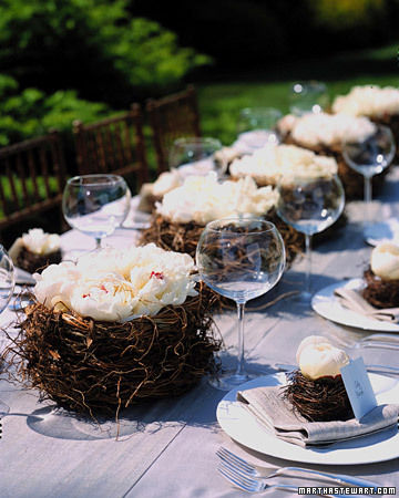 Bird Nest Centerpieces with Peonies