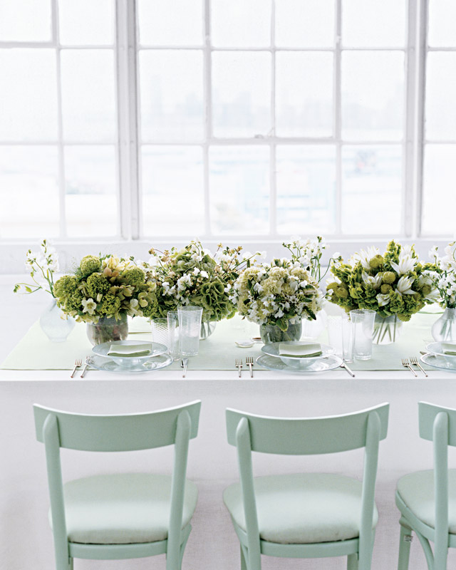 Multiple White and Green Wedding Centerpieces
