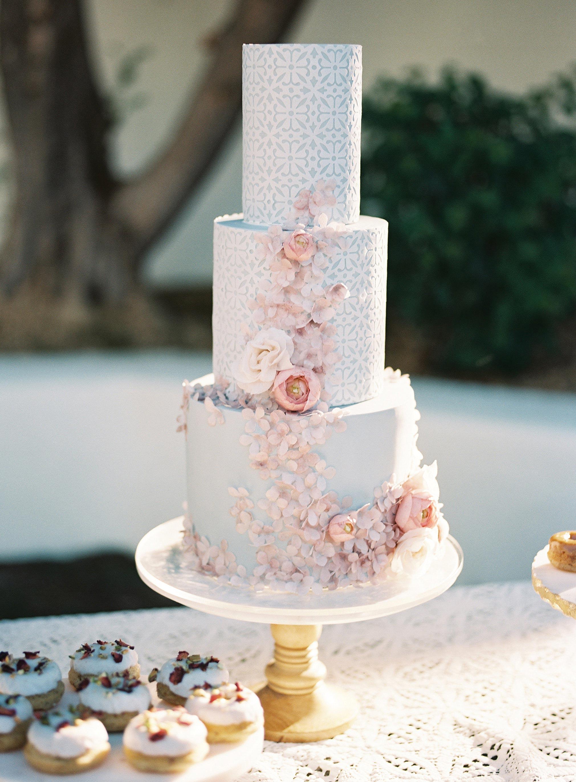 blue pink lace wedding cake