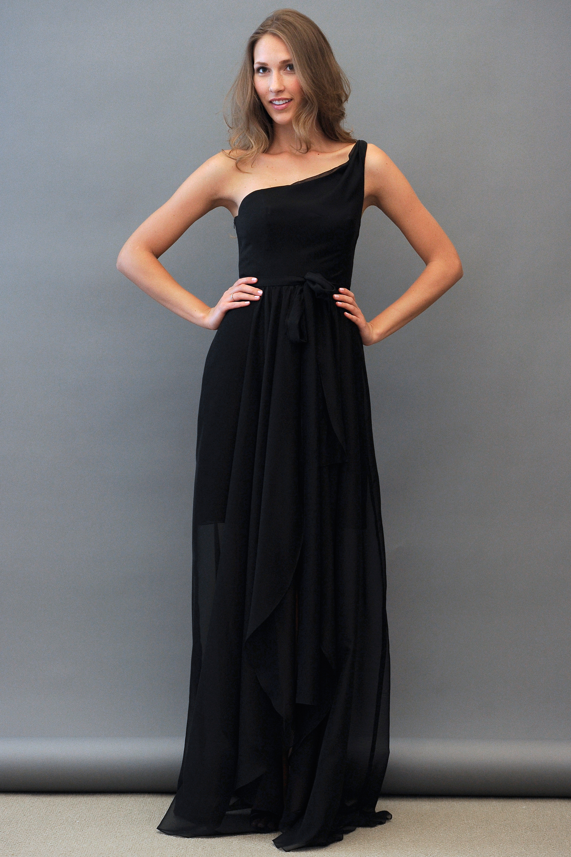 One-Shoulder Black Bridesmaid Dress