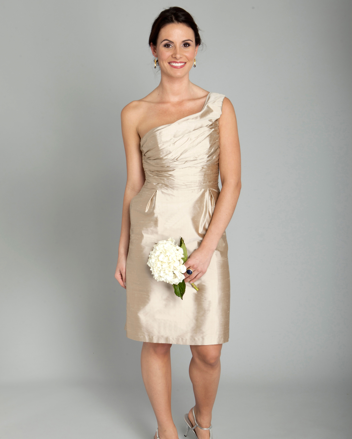 One-Shoulder Champagne Bridesmaid Dress