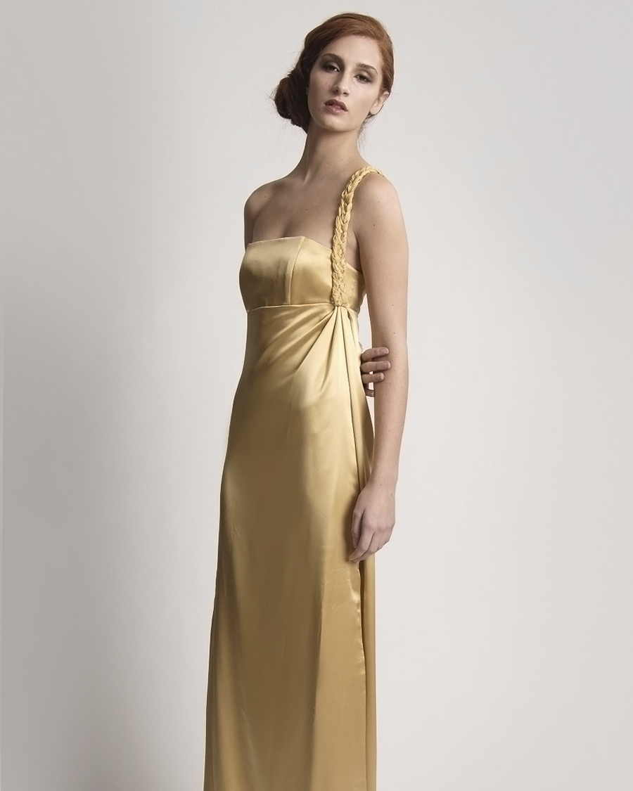 Floor-Length Gold Bridesmaid Dress