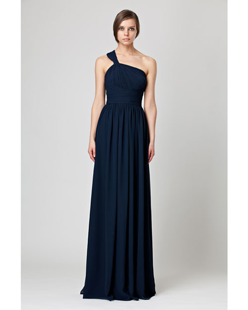 Floor-Length Blue Bridesmaid Dress