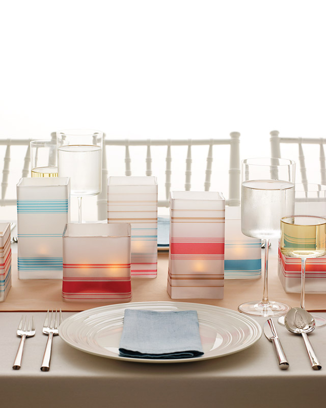 Striped Vellum Candle Centerpieces