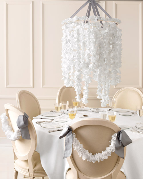 Nouveau Romantic Wedding Table Setting with Chandelier Centerpiece
