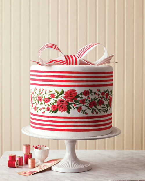 Ikat and French Silk Ribbon Wedding Cake