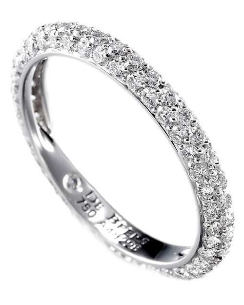 Wedding Band with Three Rows of Diamonds