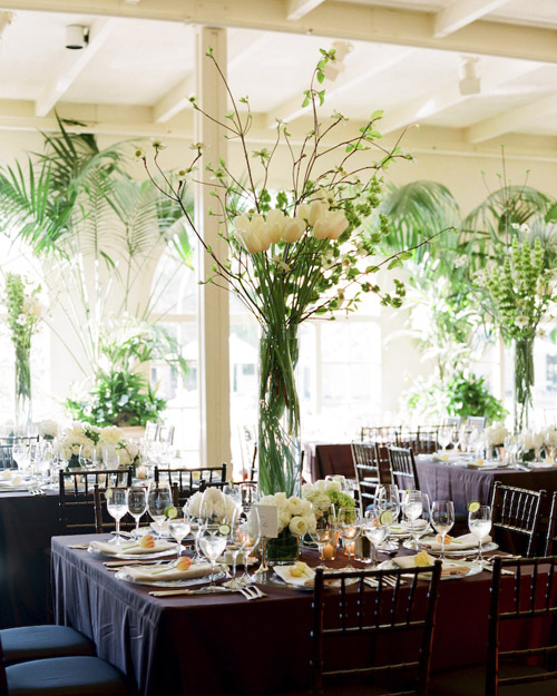 Tall White-and-Green Centerpieces