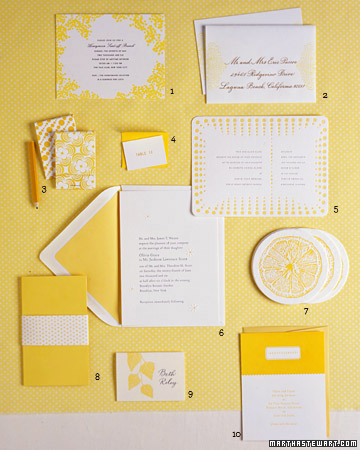 Yellow and White Wedding Invitations