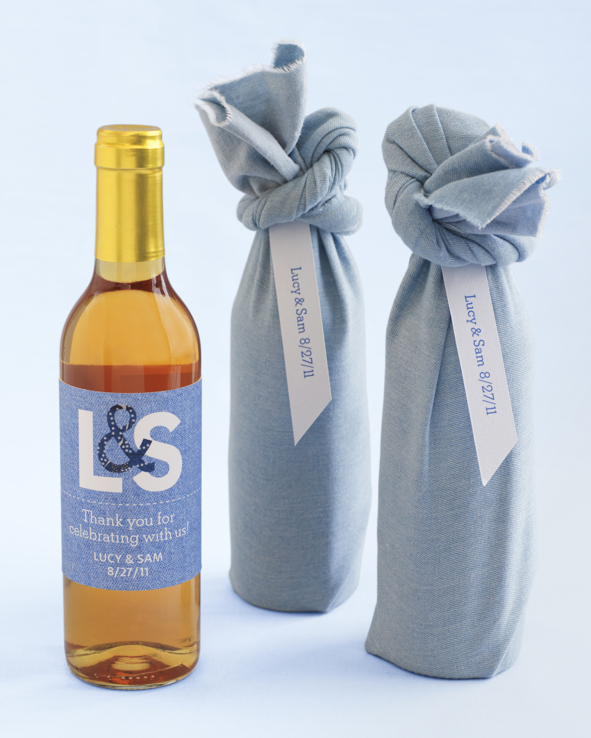Paper Denim Wine-Bottle Favor Labels