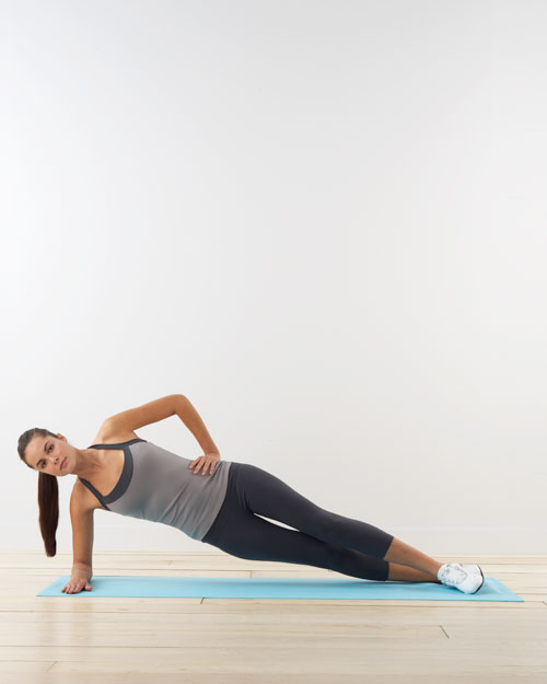 Forearm side plank: for obliques, glutes, thighs, and shoulders