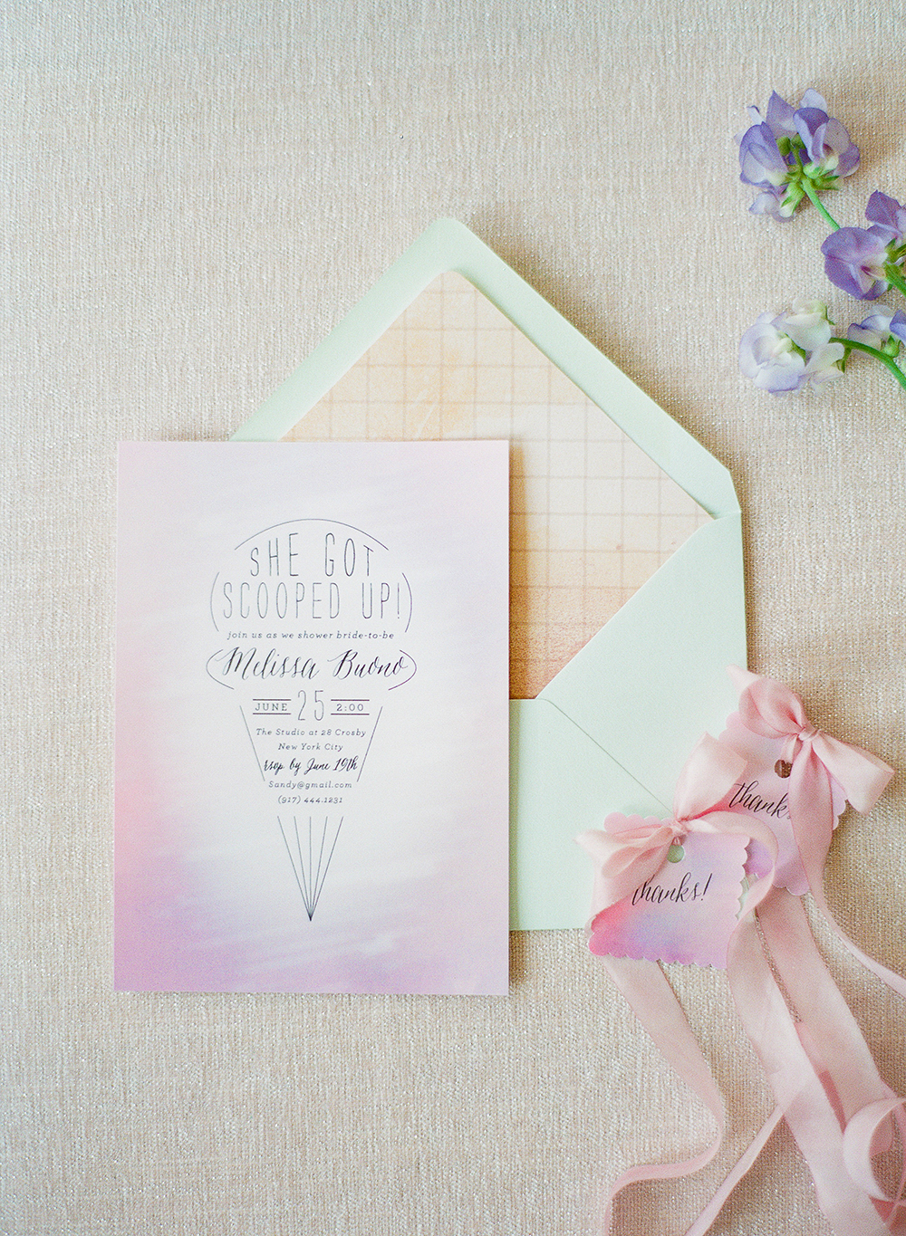 pink bridal shower ice cream invitation