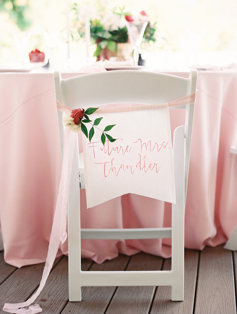 pink bridal shower seat label