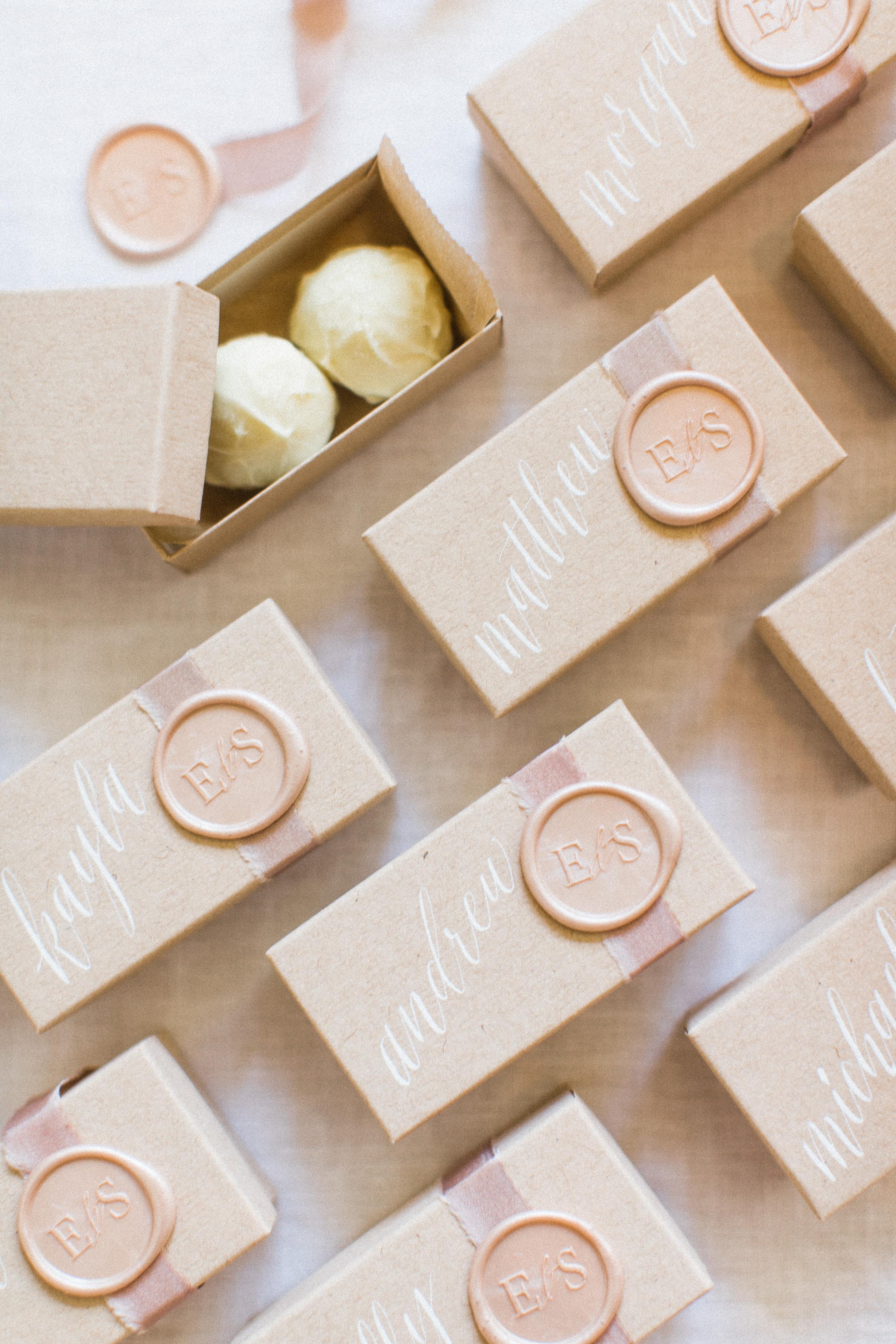 wedding place chocolate box wax stamp
