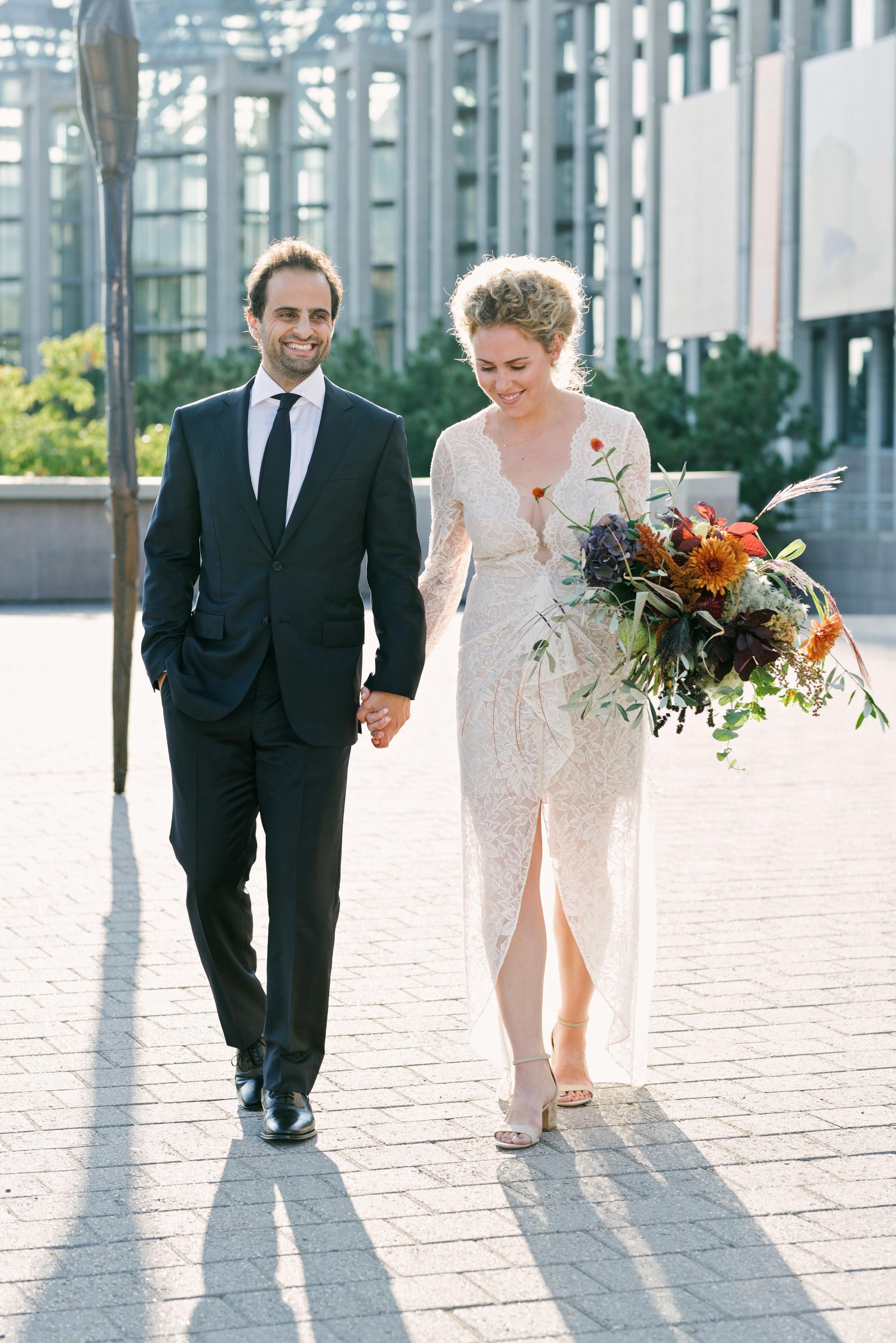 molly michael wedding couple walking