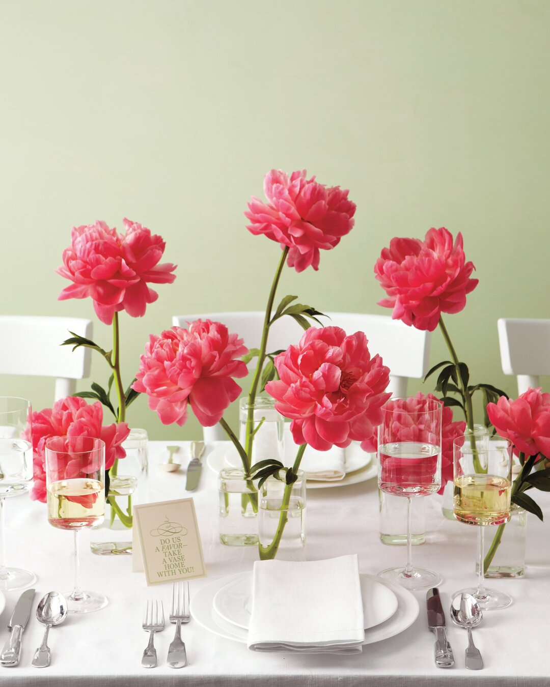 Peony Centerpieces and Favors