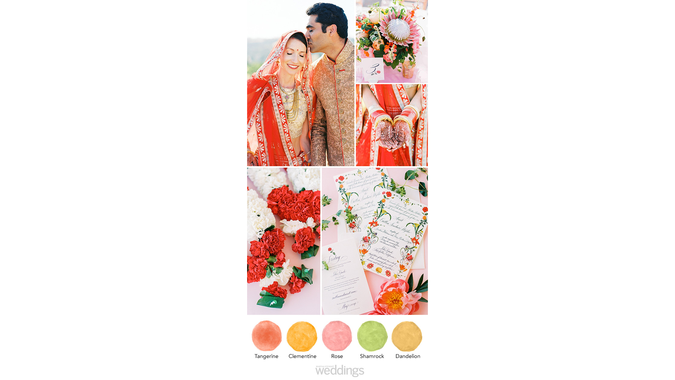 tangerine rose wedding color palette ideas